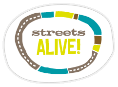 logo, words: streets alive!